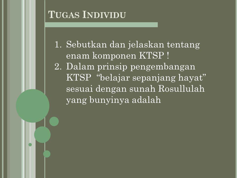 1.Sebutkan dan jelaskan tentang enam komponen KTSP .