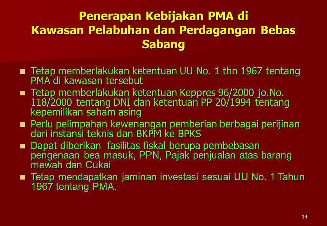 14 Penerapan Kebijakan PMA di Kawasan Pelabuhan dan Perdagangan Bebas Sabang Tetap memberlakukan ketentuan UU No. 1 thn 1967 tentang PMA di kawasan te