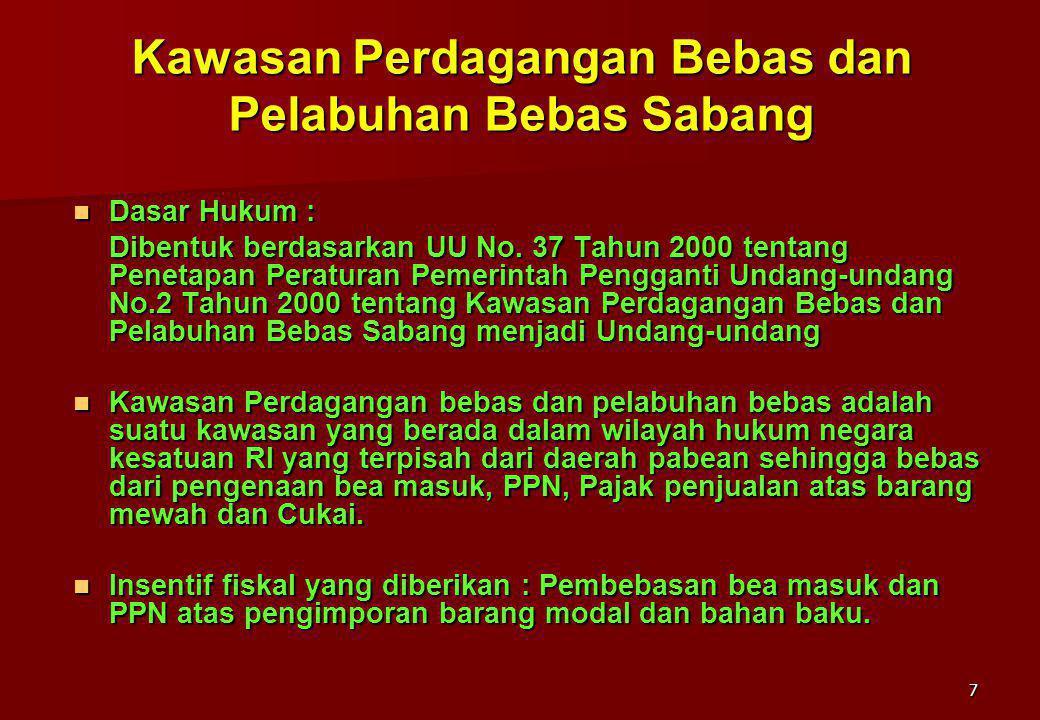 7 Kawasan Perdagangan Bebas dan Pelabuhan Bebas Sabang Dasar Hukum : Dasar Hukum : Dibentuk berdasarkan UU No. 37 Tahun 2000 tentang Penetapan Peratur