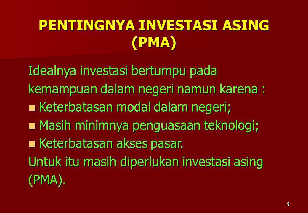9 PENTINGNYA INVESTASI ASING (PMA) Idealnya investasi bertumpu pada kemampuan dalam negeri namun karena : Keterbatasan modal dalam negeri; Keterbatasa