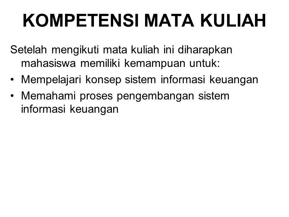 KOMPETENSI MATA KULIAH Setelah mengikuti mata kuliah ini diharapkan mahasiswa memiliki kemampuan untuk: Mempelajari konsep sistem informasi keuangan M