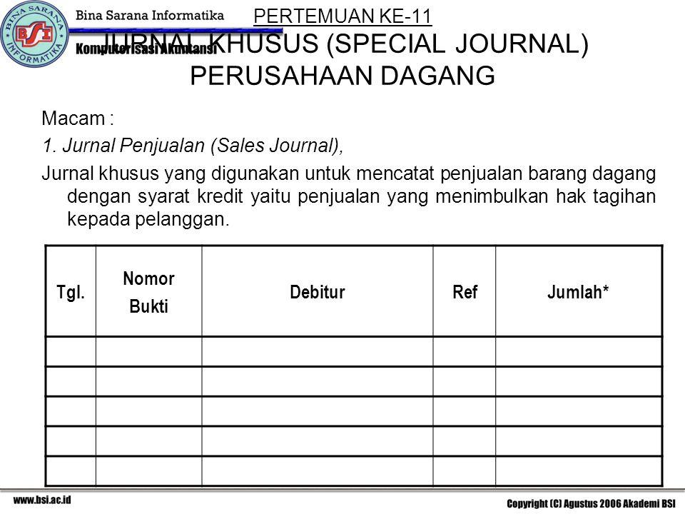 PERTEMUAN KE-11 JURNAL KHUSUS (SPECIAL JOURNAL) PERUSAHAAN DAGANG Macam : 1.