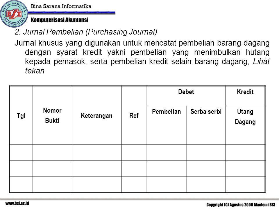 2. Jurnal Pembelian (Purchasing Journal) Jurnal khusus yang digunakan untuk mencatat pembelian barang dagang dengan syarat kredit yakni pembelian yang