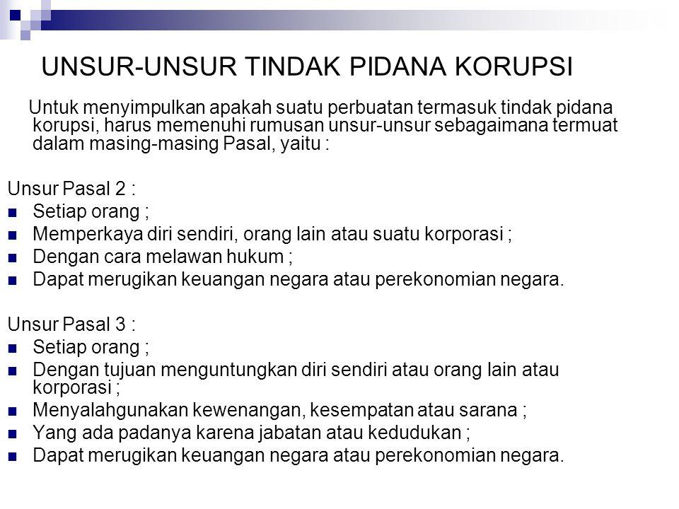 UNSUR-UNSUR TINDAK PIDANA KORUPSI Untuk menyimpulkan apakah suatu perbuatan termasuk tindak pidana korupsi, harus memenuhi rumusan unsur-unsur sebagai
