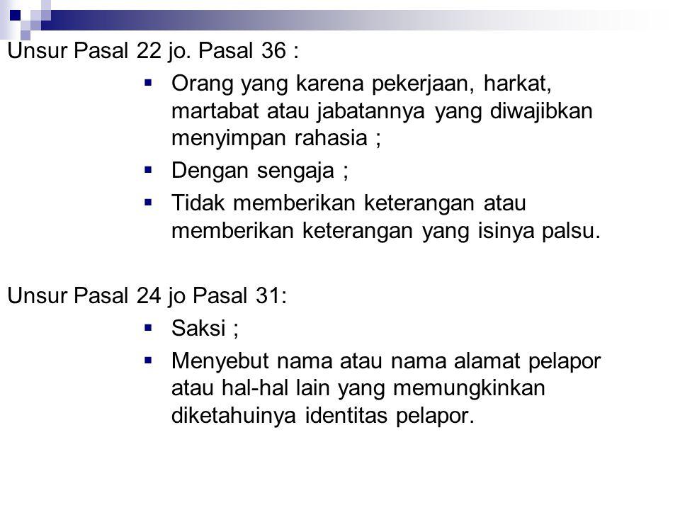 Unsur Pasal 22 jo. Pasal 36 :  Orang yang karena pekerjaan, harkat, martabat atau jabatannya yang diwajibkan menyimpan rahasia ;  Dengan sengaja ; 