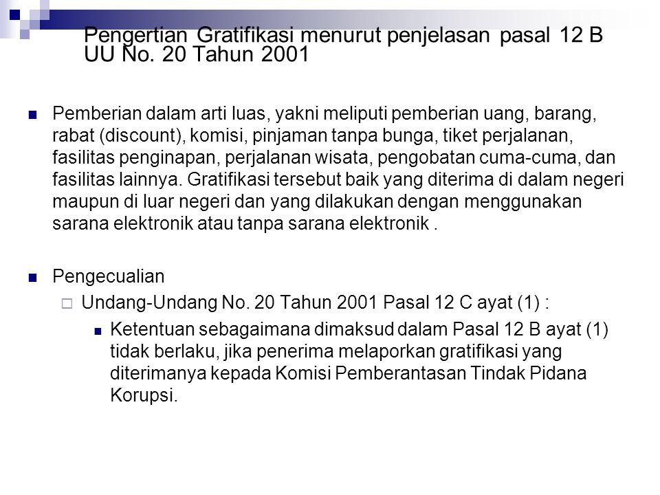 Pengertian Gratifikasi menurut penjelasan pasal 12 B UU No. 20 Tahun 2001 Pemberian dalam arti luas, yakni meliputi pemberian uang, barang, rabat (dis