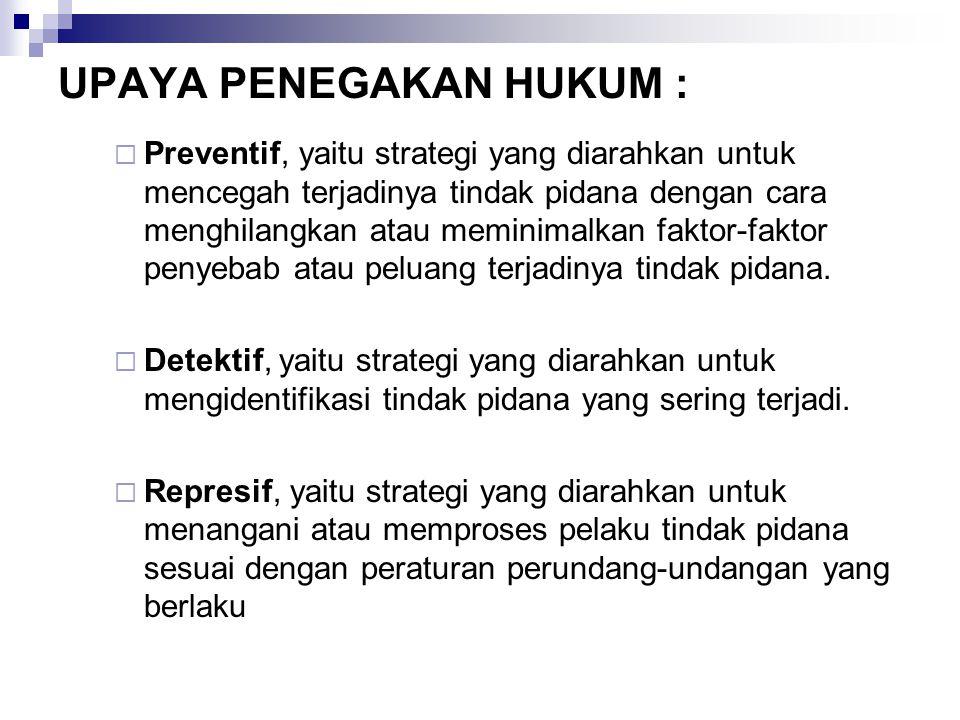 UPAYA PENEGAKAN HUKUM :  Preventif, yaitu strategi yang diarahkan untuk mencegah terjadinya tindak pidana dengan cara menghilangkan atau meminimalkan
