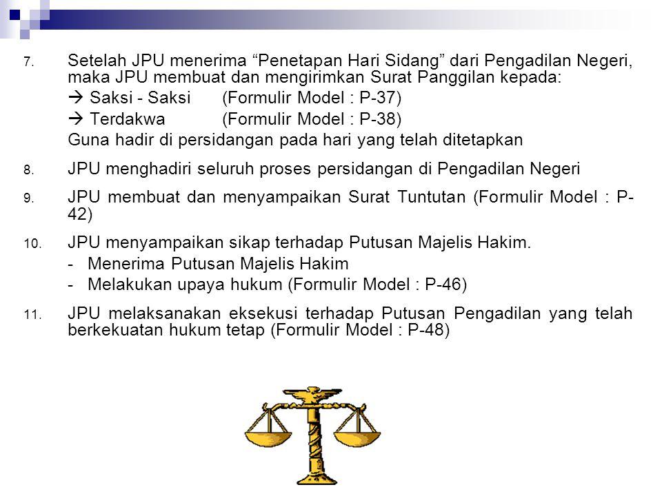 "7. Setelah JPU menerima ""Penetapan Hari Sidang"" dari Pengadilan Negeri, maka JPU membuat dan mengirimkan Surat Panggilan kepada:  Saksi - Saksi (Form"
