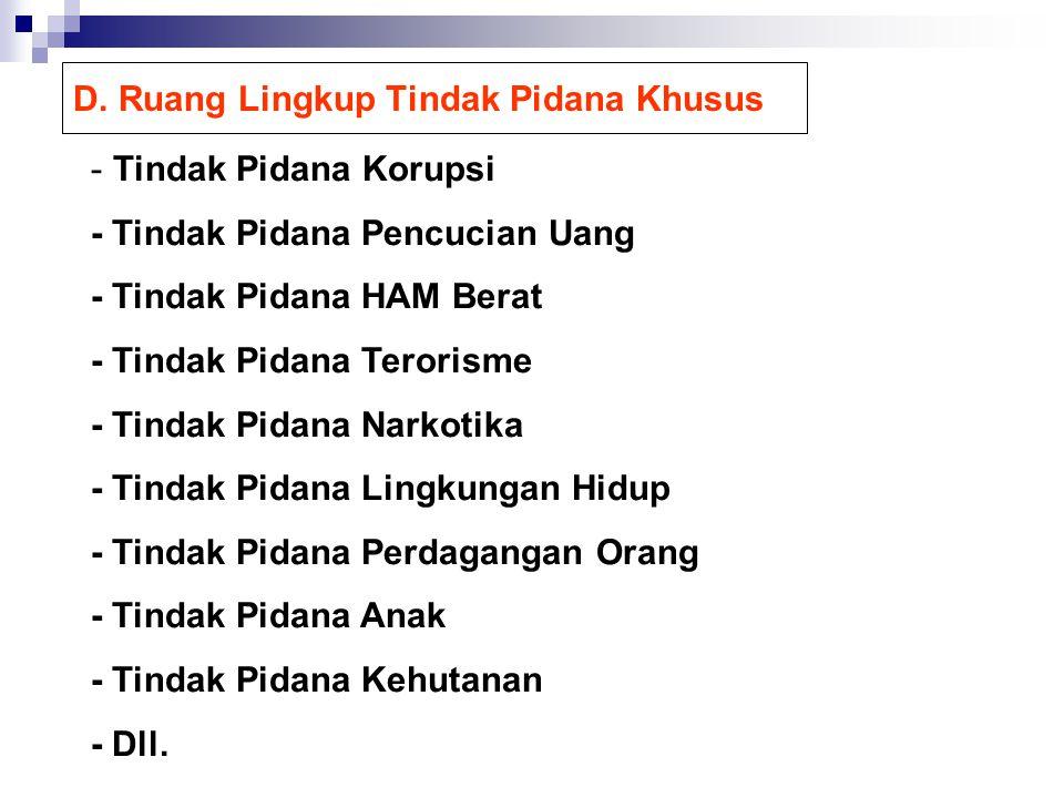 D. Ruang Lingkup Tindak Pidana Khusus - Tindak Pidana Korupsi - Tindak Pidana Pencucian Uang - Tindak Pidana HAM Berat - Tindak Pidana Terorisme - Tin