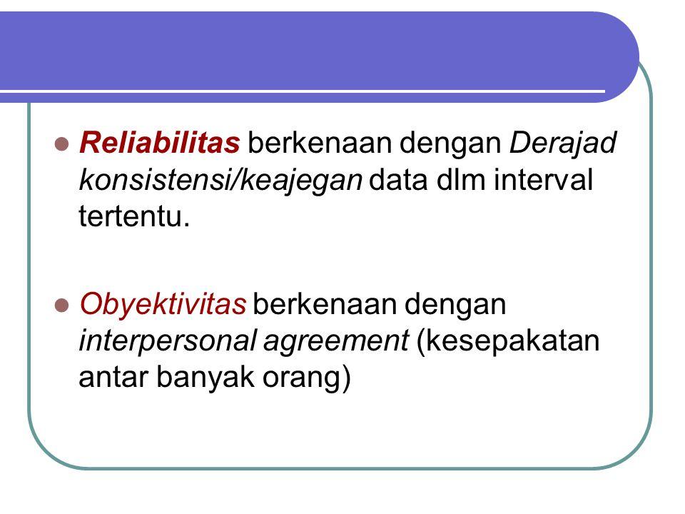 Reliabilitas berkenaan dengan Derajad konsistensi/keajegan data dlm interval tertentu. Obyektivitas berkenaan dengan interpersonal agreement (kesepaka