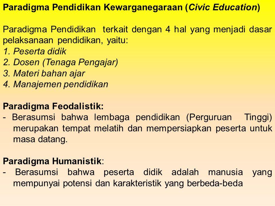 Paradigma Pendidikan Kewarganegaraan (Civic Education) Paradigma Pendidikan terkait dengan 4 hal yang menjadi dasar pelaksanaan pendidikan, yaitu: 1.P