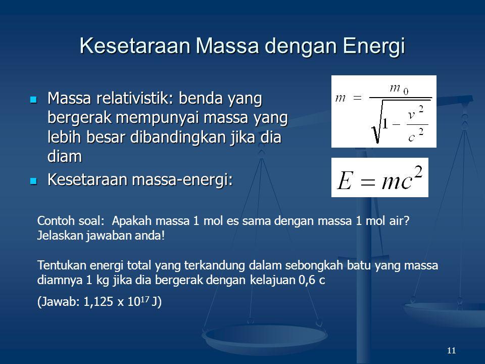 11 Kesetaraan Massa dengan Energi Massa relativistik: benda yang bergerak mempunyai massa yang lebih besar dibandingkan jika dia diam Massa relativist