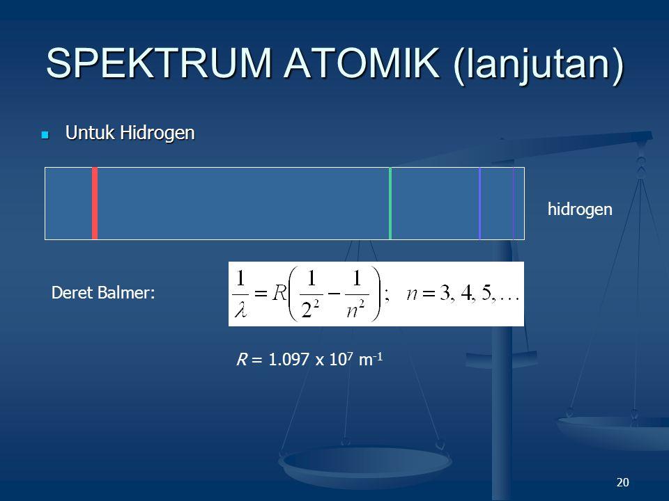 20 SPEKTRUM ATOMIK (lanjutan) Untuk Hidrogen Untuk Hidrogen hidrogen Deret Balmer: R = 1.097 x 10 7 m -1