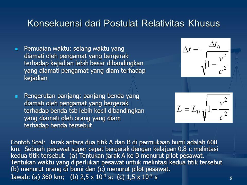 9 Konsekuensi dari Postulat Relativitas Khusus Pemuaian waktu: selang waktu yang diamati oleh pengamat yang bergerak terhadap kejadian lebih besar dib