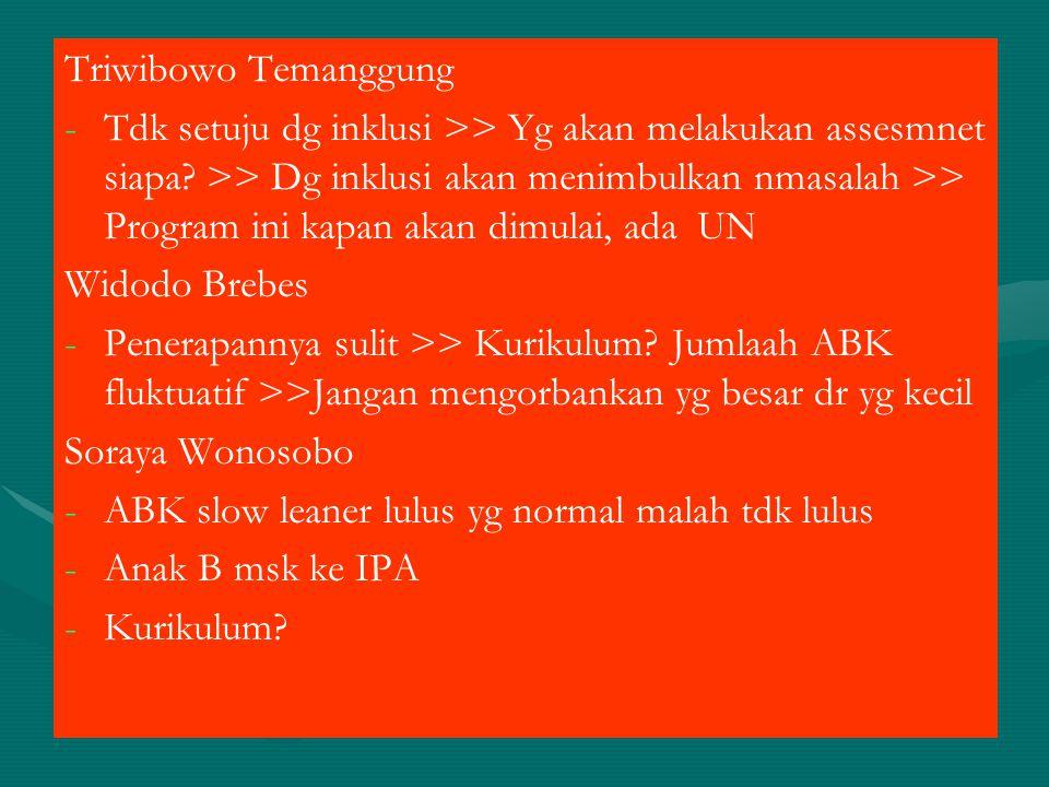 Triwibowo Temanggung - -Tdk setuju dg inklusi >> Yg akan melakukan assesmnet siapa? >> Dg inklusi akan menimbulkan nmasalah >> Program ini kapan akan