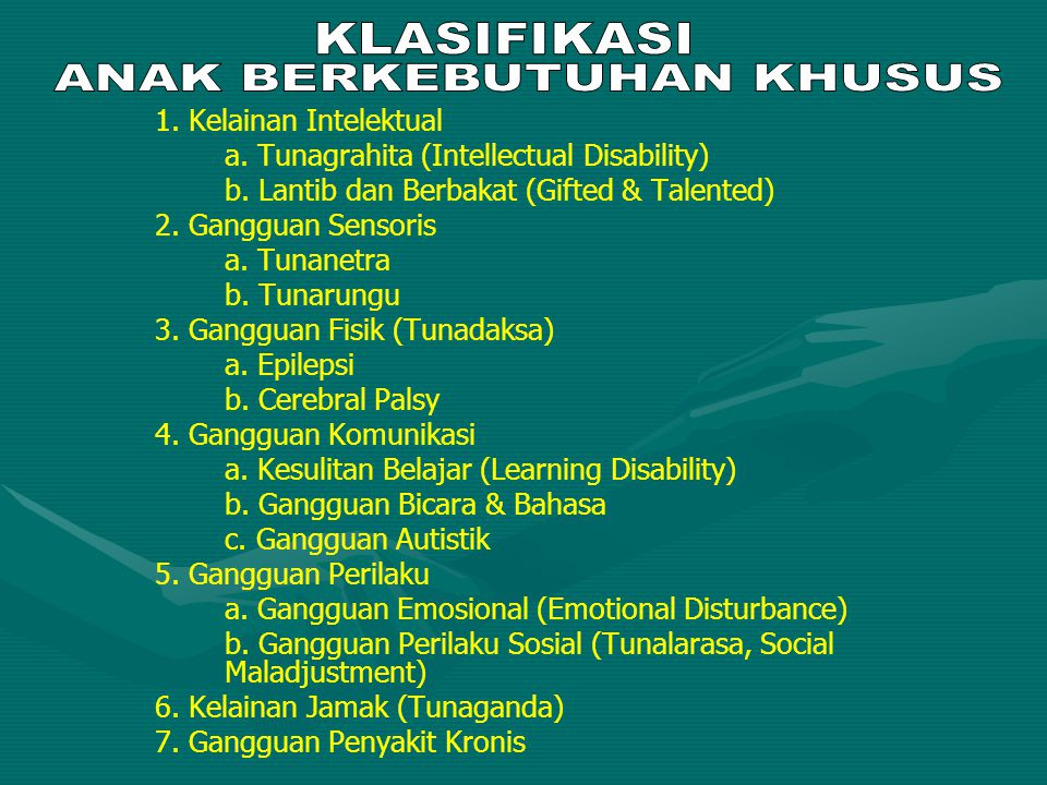 1. Kelainan Intelektual a. Tunagrahita (Intellectual Disability) b. Lantib dan Berbakat (Gifted & Talented) 2. Gangguan Sensoris a. Tunanetra b. Tunar