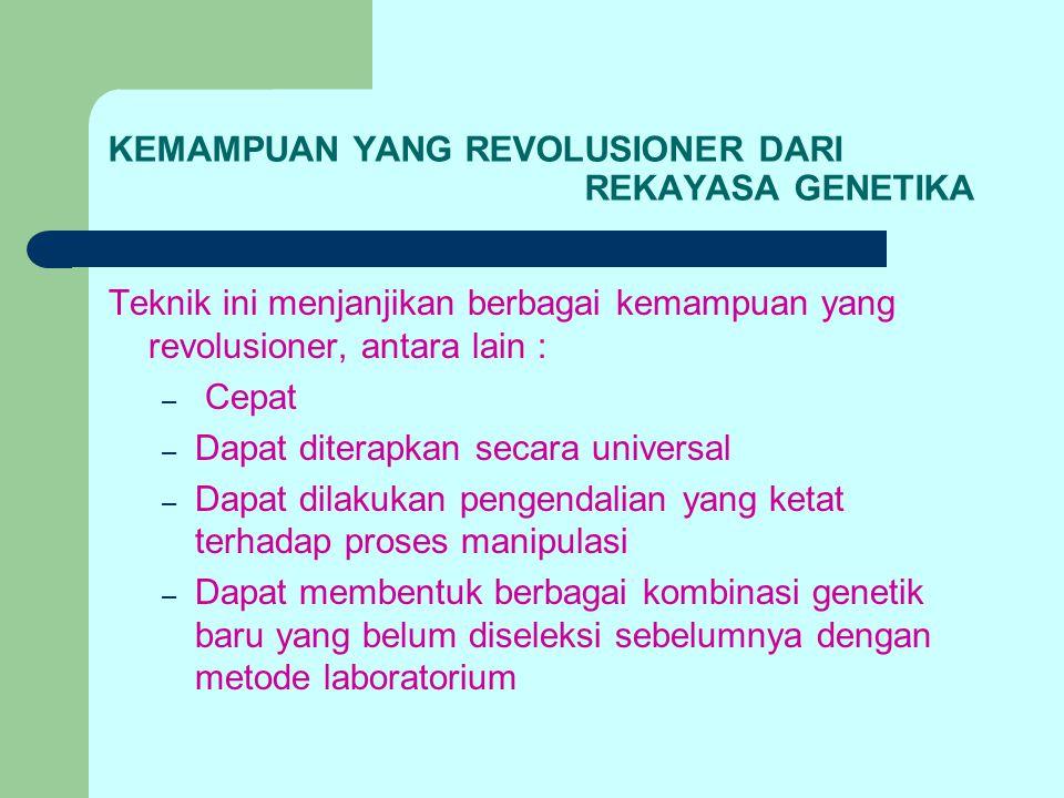 KEMAMPUAN YANG REVOLUSIONER DARI REKAYASA GENETIKA Teknik ini menjanjikan berbagai kemampuan yang revolusioner, antara lain : – Cepat – Dapat diterapk