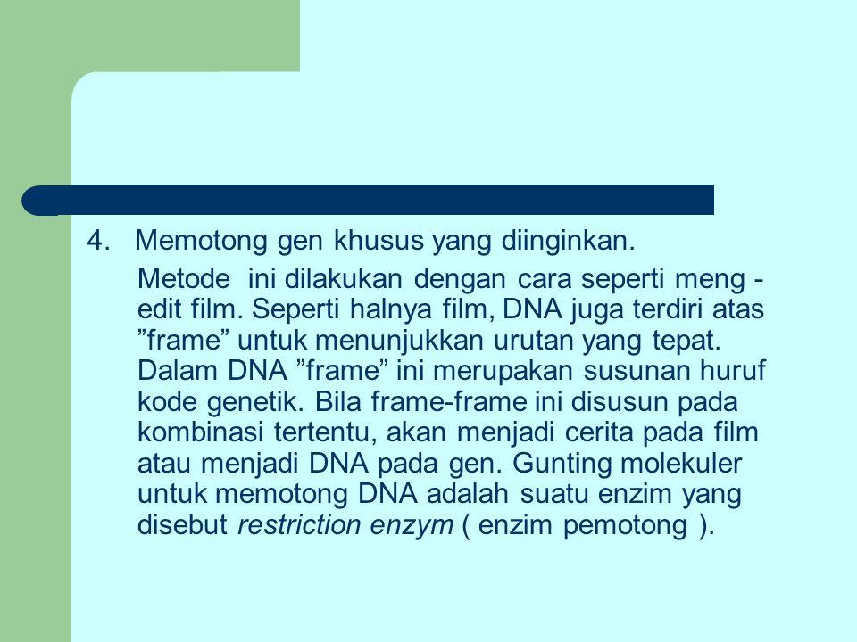 """4. Memotong gen khusus yang diinginkan. Metode ini dilakukan dengan cara seperti meng - edit film. Seperti halnya film, DNA juga terdiri atas """"frame"""""""