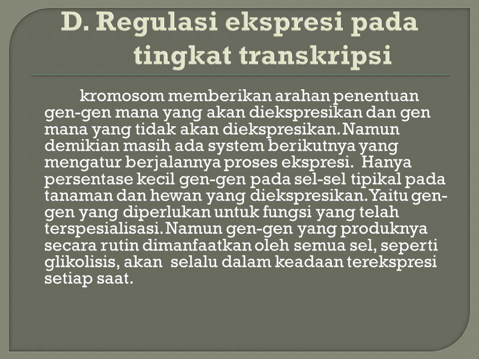 D. Regulasi ekspresi pada tingkat transkripsi kromosom memberikan arahan penentuan gen-gen mana yang akan diekspresikan dan gen mana yang tidak akan d