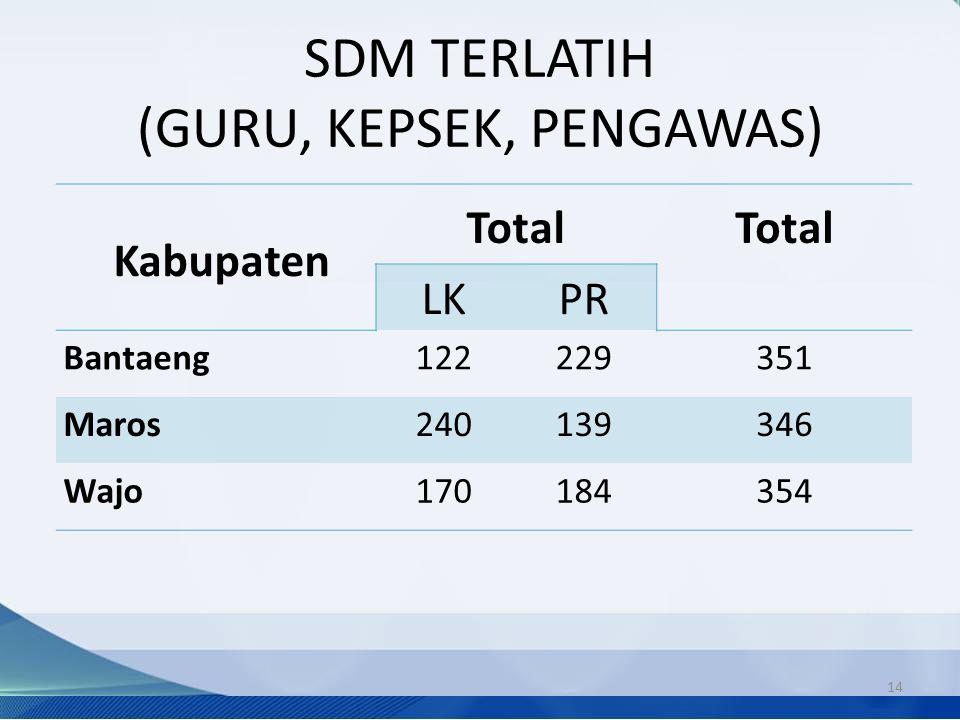 SDM TERLATIH (GURU, KEPSEK, PENGAWAS) 14 Kabupaten Total LKPR Bantaeng122229351 Maros240139346 Wajo170184354
