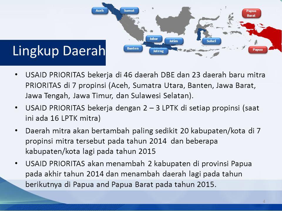 Lingkup Daerah USAID PRIORITAS bekerja di 46 daerah DBE dan 23 daerah baru mitra PRIORITAS di 7 propinsi (Aceh, Sumatra Utara, Banten, Jawa Barat, Jawa Tengah, Jawa Timur, dan Sulawesi Selatan).