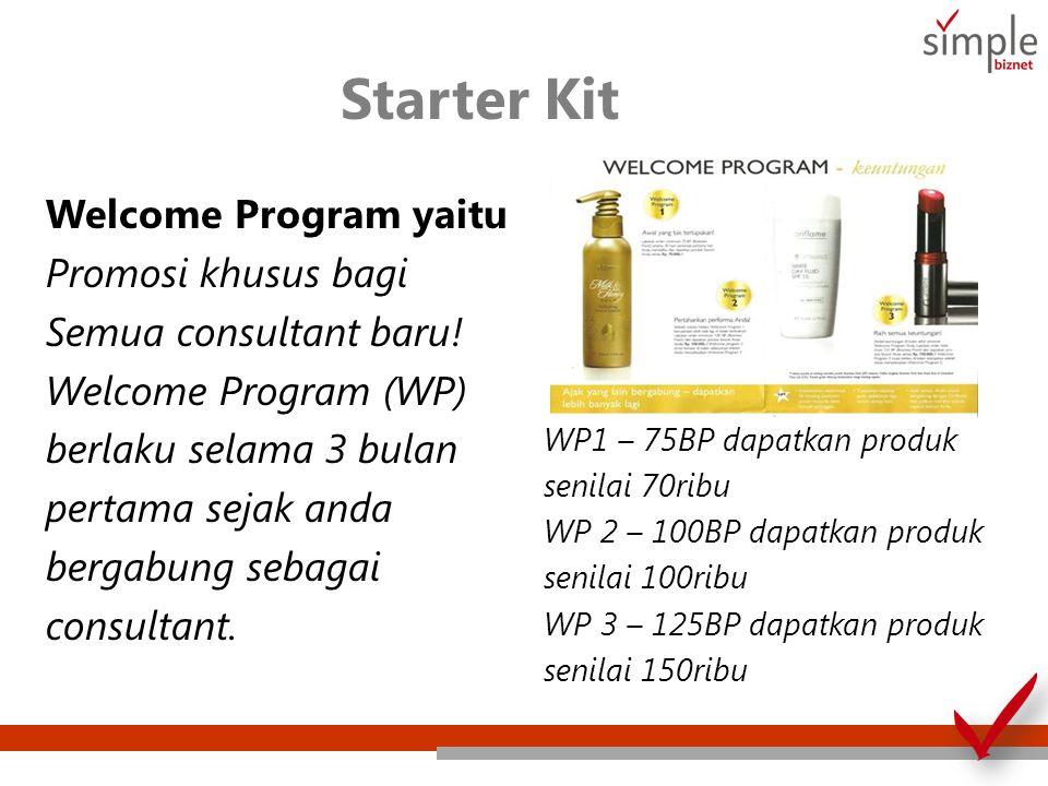Starter Kit Welcome Program yaitu Promosi khusus bagi Semua consultant baru! Welcome Program (WP) berlaku selama 3 bulan pertama sejak anda bergabung