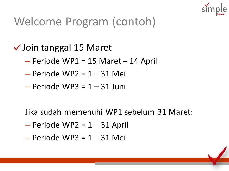 Welcome Program (contoh) Join tanggal 15 Maret – Periode WP1 = 15 Maret – 14 April – Periode WP2 = 1 – 31 Mei – Periode WP3 = 1 – 31 Juni Jika sudah memenuhi WP1 sebelum 31 Maret: – Periode WP2 = 1 – 31 April – Periode WP3 = 1 – 31 Mei