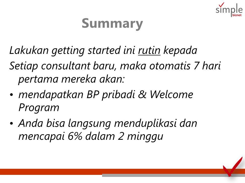 Summary Lakukan getting started ini rutin kepada Setiap consultant baru, maka otomatis 7 hari pertama mereka akan: mendapatkan BP pribadi & Welcome Program Anda bisa langsung menduplikasi dan mencapai 6% dalam 2 minggu