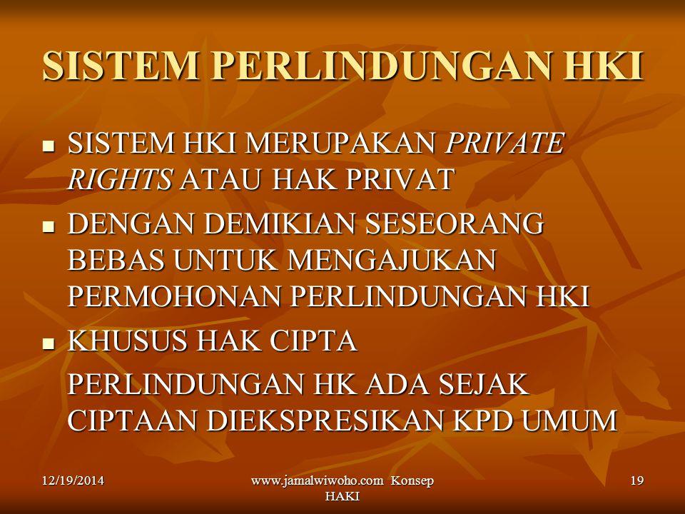 www.jamalwiwoho.com Konsep HAKI 19 SISTEM PERLINDUNGAN HKI SISTEM HKI MERUPAKAN PRIVATE RIGHTS ATAU HAK PRIVAT SISTEM HKI MERUPAKAN PRIVATE RIGHTS ATA