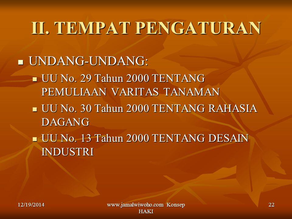 www.jamalwiwoho.com Konsep HAKI 22 II. TEMPAT PENGATURAN UNDANG-UNDANG: UNDANG-UNDANG: UU No. 29 Tahun 2000 TENTANG PEMULIAAN VARITAS TANAMAN UU No. 2