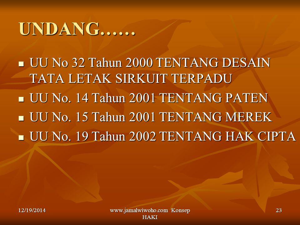 www.jamalwiwoho.com Konsep HAKI 23 UNDANG…… UU No 32 Tahun 2000 TENTANG DESAIN TATA LETAK SIRKUIT TERPADU UU No 32 Tahun 2000 TENTANG DESAIN TATA LETA