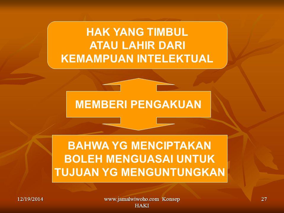 www.jamalwiwoho.com Konsep HAKI 27 HAK YANG TIMBUL ATAU LAHIR DARI KEMAMPUAN INTELEKTUAL MEMBERI PENGAKUAN BAHWA YG MENCIPTAKAN BOLEH MENGUASAI UNTUK