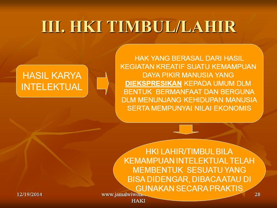 www.jamalwiwoho.com Konsep HAKI 28 III. HKI TIMBUL/LAHIR HASIL KARYA INTELEKTUAL HAK YANG BERASAL DARI HASIL KEGIATAN KREATIF SUATU KEMAMPUAN DAYA PIK