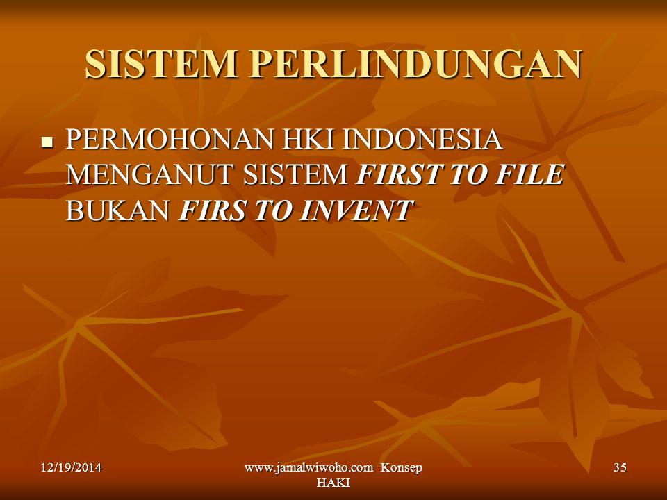 www.jamalwiwoho.com Konsep HAKI 35 SISTEM PERLINDUNGAN PERMOHONAN HKI INDONESIA MENGANUT SISTEM FIRST TO FILE BUKAN FIRS TO INVENT PERMOHONAN HKI INDO