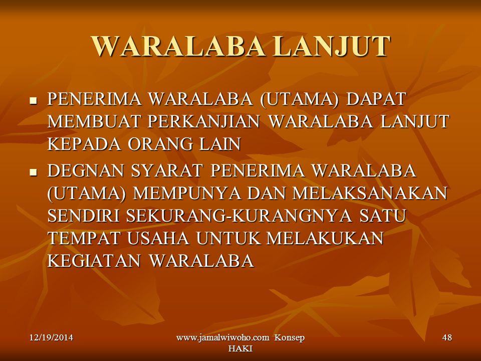 www.jamalwiwoho.com Konsep HAKI 48 WARALABA LANJUT PENERIMA WARALABA (UTAMA) DAPAT MEMBUAT PERKANJIAN WARALABA LANJUT KEPADA ORANG LAIN PENERIMA WARAL