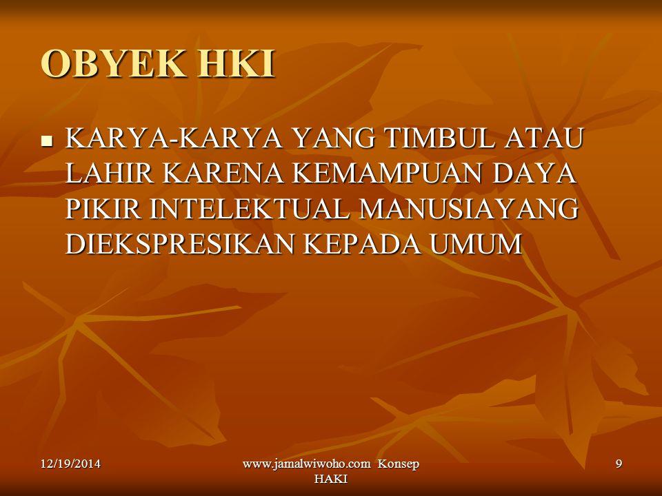 www.jamalwiwoho.com Konsep HAKI 9 OBYEK HKI KARYA-KARYA YANG TIMBUL ATAU LAHIR KARENA KEMAMPUAN DAYA PIKIR INTELEKTUAL MANUSIAYANG DIEKSPRESIKAN KEPAD