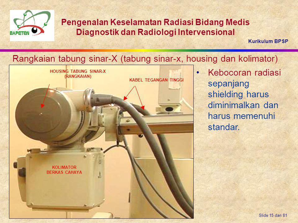 Kurikulum BPSP Pengenalan Keselamatan Radiasi Bidang Medis Diagnostik dan Radiologi Intervensional Slide 15 dari 81 Rangkaian tabung sinar-X (tabung s