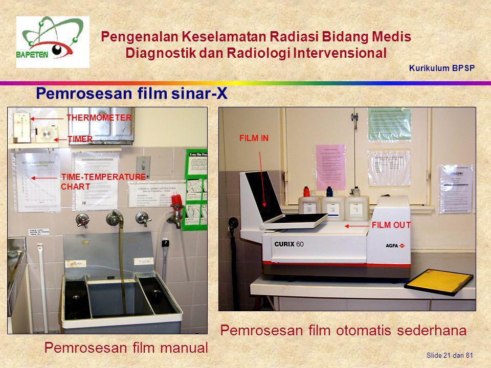 Kurikulum BPSP Pengenalan Keselamatan Radiasi Bidang Medis Diagnostik dan Radiologi Intervensional Slide 21 dari 81 FILM IN FILM OUT THERMOMETER TIME-