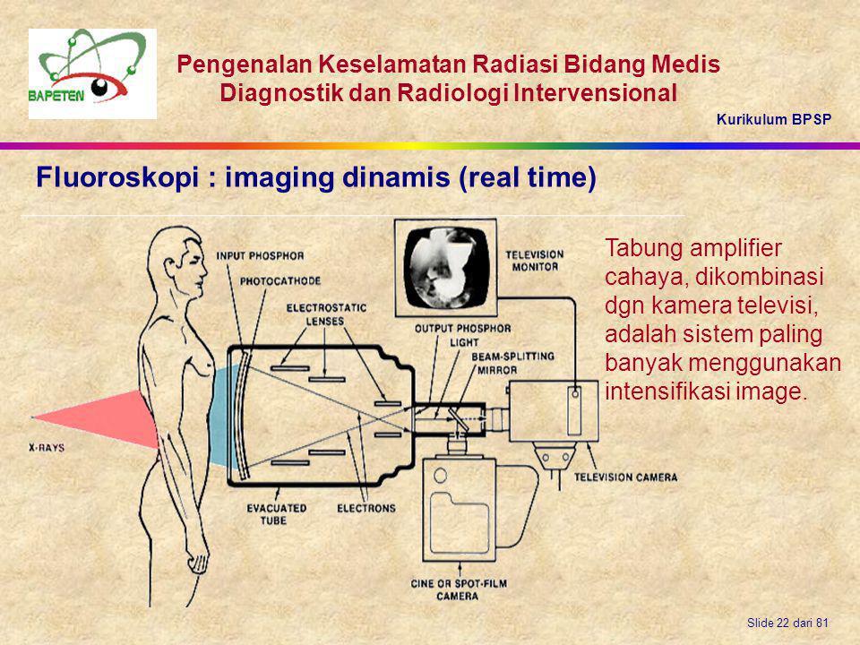 Kurikulum BPSP Pengenalan Keselamatan Radiasi Bidang Medis Diagnostik dan Radiologi Intervensional Slide 22 dari 81 Fluoroskopi : imaging dinamis (rea
