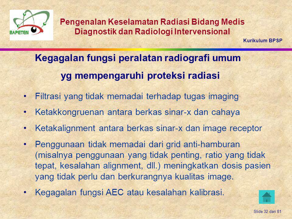 Kurikulum BPSP Pengenalan Keselamatan Radiasi Bidang Medis Diagnostik dan Radiologi Intervensional Slide 32 dari 81 Kegagalan fungsi peralatan radiogr