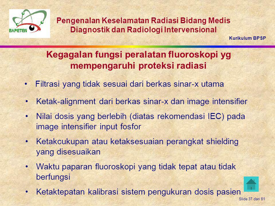 Kurikulum BPSP Pengenalan Keselamatan Radiasi Bidang Medis Diagnostik dan Radiologi Intervensional Slide 37 dari 81 Kegagalan fungsi peralatan fluoros
