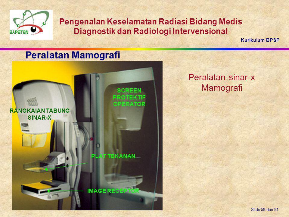 Kurikulum BPSP Pengenalan Keselamatan Radiasi Bidang Medis Diagnostik dan Radiologi Intervensional Slide 58 dari 81 Peralatan sinar-x Mamografi Perala