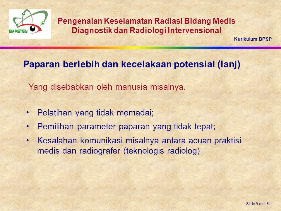 Kurikulum BPSP Pengenalan Keselamatan Radiasi Bidang Medis Diagnostik dan Radiologi Intervensional Slide 9 dari 81 Pelatihan yang tidak memadai; Pemil