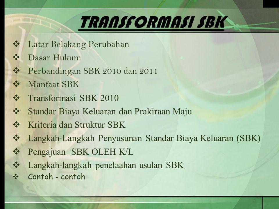 TRANSFORMASI SBK  Latar Belakang Perubahan  Dasar Hukum  Perbandingan SBK 2010 dan 2011  Manfaat SBK  Transformasi SBK 2010  Standar Biaya Kelua