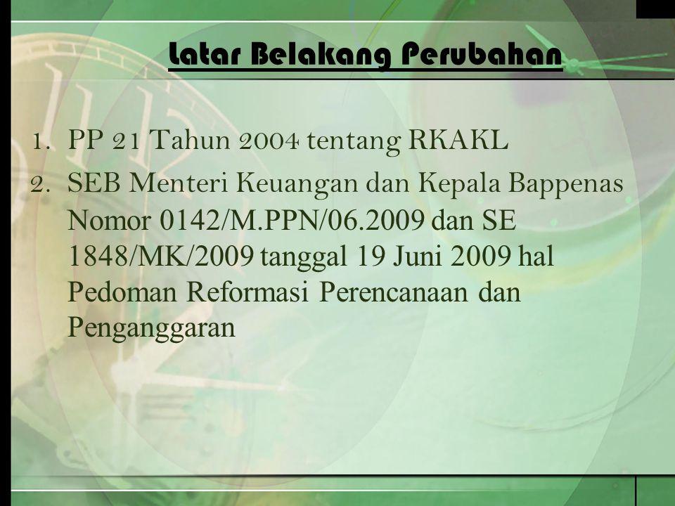 Latar Belakang Perubahan 1.PP 21 Tahun 2004 tentang RKAKL 2.SEB Menteri Keuangan dan Kepala Bappenas Nomor 0142/M.PPN/06.2009 dan SE 1848/MK/2009 tang