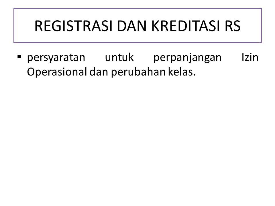 REGISTRASI DAN KREDITASI RS  persyaratan untuk perpanjangan Izin Operasional dan perubahan kelas.