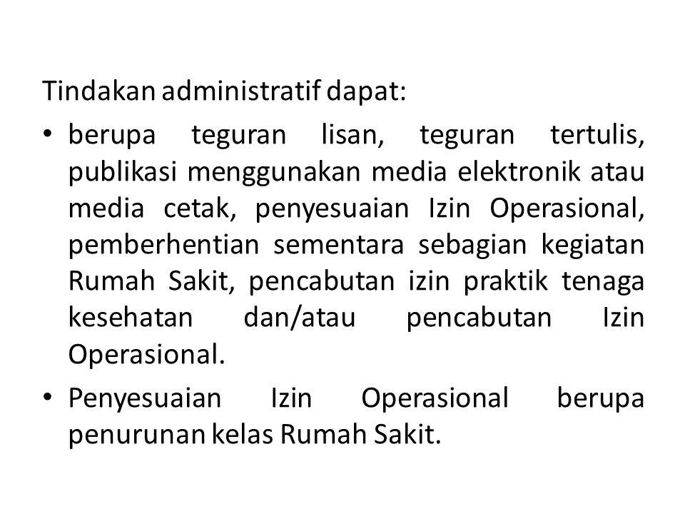 Tindakan administratif dapat: berupa teguran lisan, teguran tertulis, publikasi menggunakan media elektronik atau media cetak, penyesuaian Izin Operas