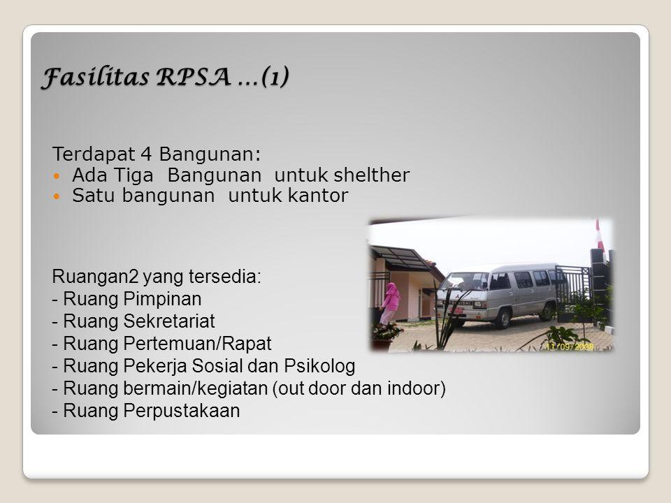 Fasilitas RPSA …(1) Terdapat 4 Bangunan: Ada Tiga Bangunan untuk shelther Satu bangunan untuk kantor Ruangan2 yang tersedia: - Ruang Pimpinan - Ruang