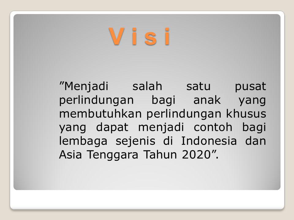 """V i s i """"Menjadi salah satu pusat perlindungan bagi anak yang membutuhkan perlindungan khusus yang dapat menjadi contoh bagi lembaga sejenis di Indone"""