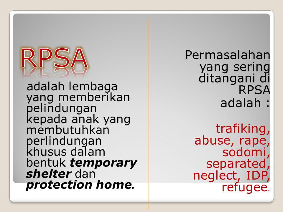 adalah lembaga yang memberikan pelindungan kepada anak yang membutuhkan perlindungan khusus dalam bentuk temporary shelter dan protection home. Permas